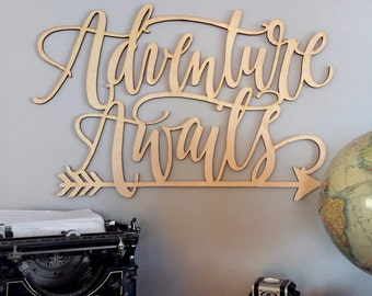 Adventure Awaits Sign | Wooden Letters | Wood Quote | Nursery Decor | Nursery Wall Art | Kids Room Decor