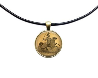 Medieval pendant Vintage jewelry Knight necklace