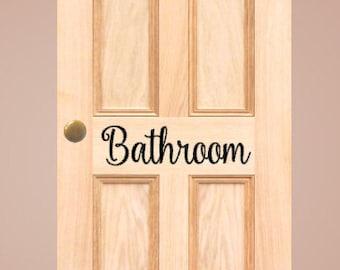 bathroom door decal bathroom decal bathroom vinyl decal bathroom wall decal powder