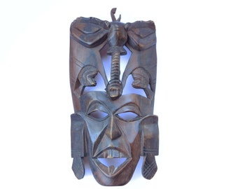 Vintage African Decorative Wooden Mask ,Wall Hanging Handcarved Mask,Tribal Mask,African male face ,Antique Ethnic Decoration,Retro Gift