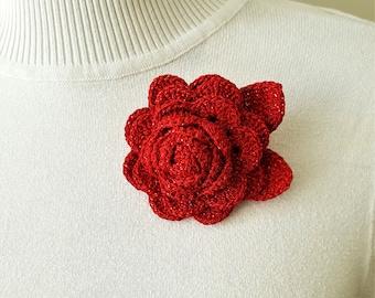 Red crochet rose brooch Crocheted rose brooch Red flower lapel pin Women brooch Unique brooch flower Red fashion pin Red rose pin Red brooch