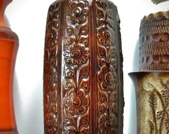 Vintage 60's SCHEURICH Floor Vase WEST GERMANY relief floral pattern 280-40, Mid Century Art Pottery Fat Lava Era, Retro Home Décor