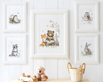 Woodland Nursery Print Set, Woodland Animals Print Set of 5 ,Bear , Raccoon , Rabbit , Owl, Fox,Hedgehog, Forest Nursery Art