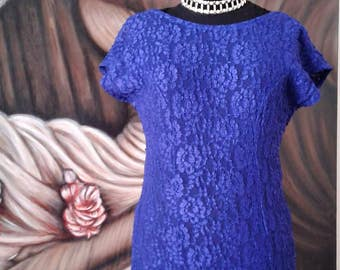 Lace Dress, Blue Dress, Bridesmaid Dress, Vintage Dress, Formal Dress, Prom Dress, Weddings, Royal Blue, Gifts for Her, Cocktail  Dress