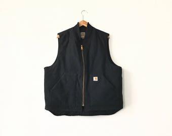 BLACK CARHARTT VEST // 90s // X-Large // Carhartt Vest // Workwear // Carhartt Jacket // Carhartt Vest // Vest // Carhartt // Carhartt Vest
