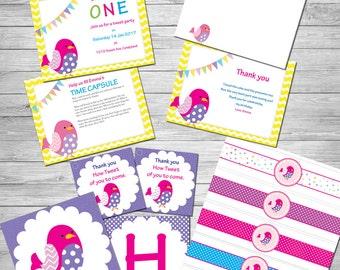 Tweet Bird party set - Birthday Set - Digital Birthday Printables