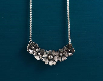 Sterling Silver Flower Necklace Oxidised