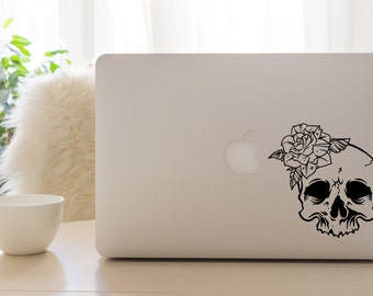Skull and Rose Vinyl Decal Sticker - Car Sticker - Car Decal - Skull Decal - Rose Decal - Skull and Rose - Skull - Rose - Decal - Vinyl