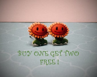 Plants vs. Zombies Sunflower Plastic Studs/ Buy One Get Two (SEE DESCRIPTION)/