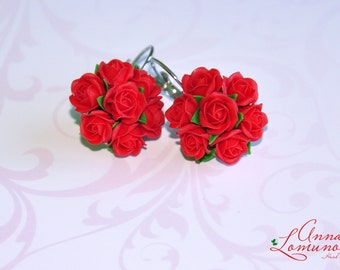 Red Roses earring Red girlfriend gift Red Flower Earring Red Wife gift Romantic gift jewelry Red Floral Earring Red Rose Jewelry Flower gift