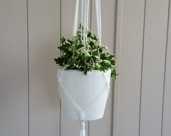 Classic White Macrame Plant Hanger with Blue Beads