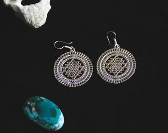 SALES !!Sri Yantra White Brass earrings- Tribal - Boho - Gypsy - Ethnic - Tantra - Yoga - Meditation - Balance - Healthy - Festival -