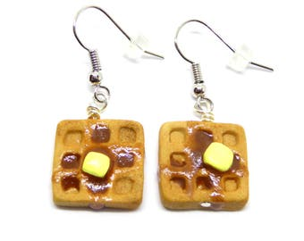 Polymer Clay Waffle Earrings, Waffle Jewelry, Waffle Charm Earrings, Miniature Waffle with Butter and Maple Syrup, Breakfast Food Earrings