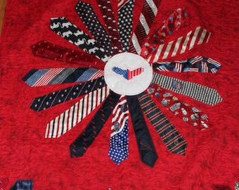 Men's Tie quilt, Neck tie quilt, Patriotic tie quilt,Tie Memory Quilt,Recycled clothing quilt,Quilt made from Neck Ties,Remembrance quilt