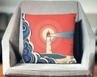 Lighthouse Pillow | Lighthouse Decor | Lighthouse Cushion | Lighthouse Pillow Case | Nautical Pillow | Nautical Cushion