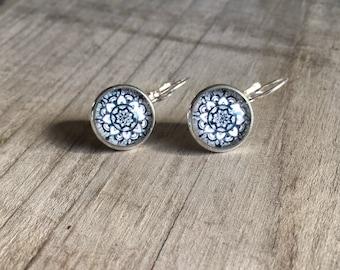Flowers, mandala cabochon earrings, cabochon earrings