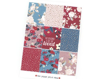 Berry Blossoms Full Box Planner Stickers - For use in fall Erin Condren, Happy Planner, Plum Paper, Kikki K, Calendar