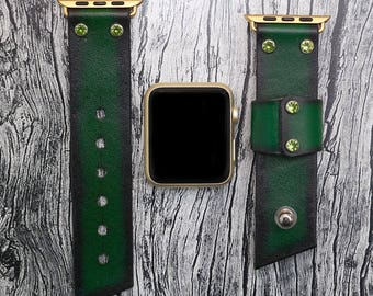 Leather apple watch band 42mm / 38mm // Green iwatch band - apple watch accessories - apple watch strap leather - rose gold lugs adapter