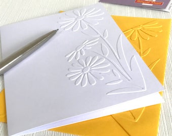Large Daisy Cards (No.101) - Pack of 6 Embossed Daisy Note Cards. Daisy Cards. Floral Stationery. Flower Cards. Floral Cards