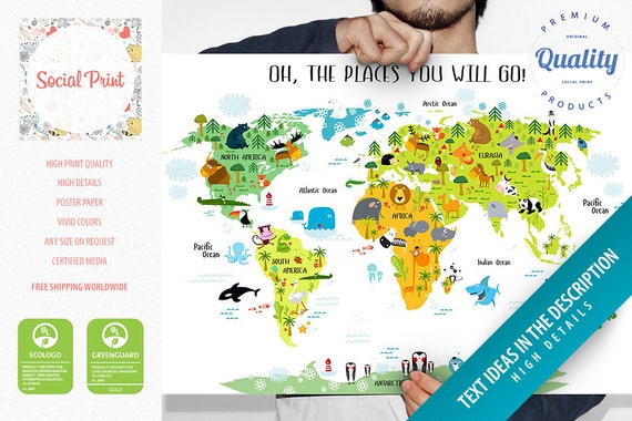 Personalized childrens animals world map poster free like this item gumiabroncs Images