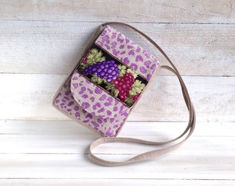 Sling handbag small, Purple Wine Grapes, everyday small bag, womens small travel purse, Sling bag unique, small shoulder purse, faux suede
