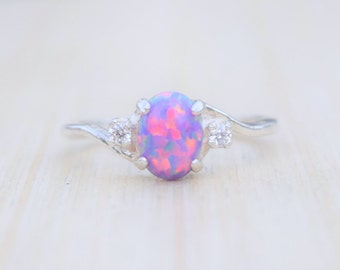 Opal Ring, Lavender Opal Ring, Amethyst Opal Ring  Purple Opal Ring, Opal Jewelry, Amethyst Ring, October Birthstone
