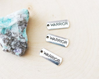 Set of 10, Warrior Charm, Tag Charm, Warrior Tag, Strong Charm, Silver Charm, Antique Silver, Silver Warrior, Warrior Charm,