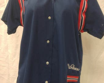 "Vintage 1980s bowling shirt ""Wilma"" by HILTON for team ""Sonitrol Security Alarms"" size 40 made in USA"