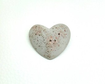 Concrete gift - brooch heart & crystals, copper