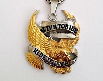 Live To Ride Pendant, Harley Davidson Necklace, Eagle Spirit Pendant, 316L Stainless Steel, Gift For Him, 3.3 cm w x 4.1 cm Long