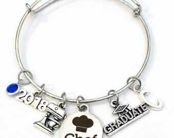 Graduation Gift for Chef Charm Bracelet, 2017 2018 Student Grad Bangle, custom initial birthstone letter Jewelry Graduate Pastry Line Cook