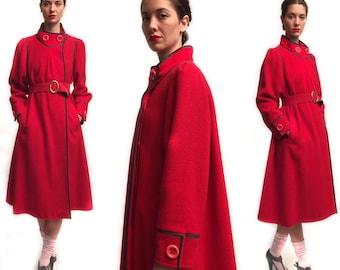 Vintage 70s Red Wool Coat
