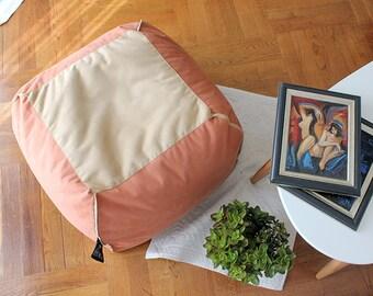 """Cubierta con estilo otomano, Puf, cuadrados, colores tierra, tela italiana, 60x60x35cm   24 x 14""""(cubierta principal + forro interno, NO frijoles relleno)"""