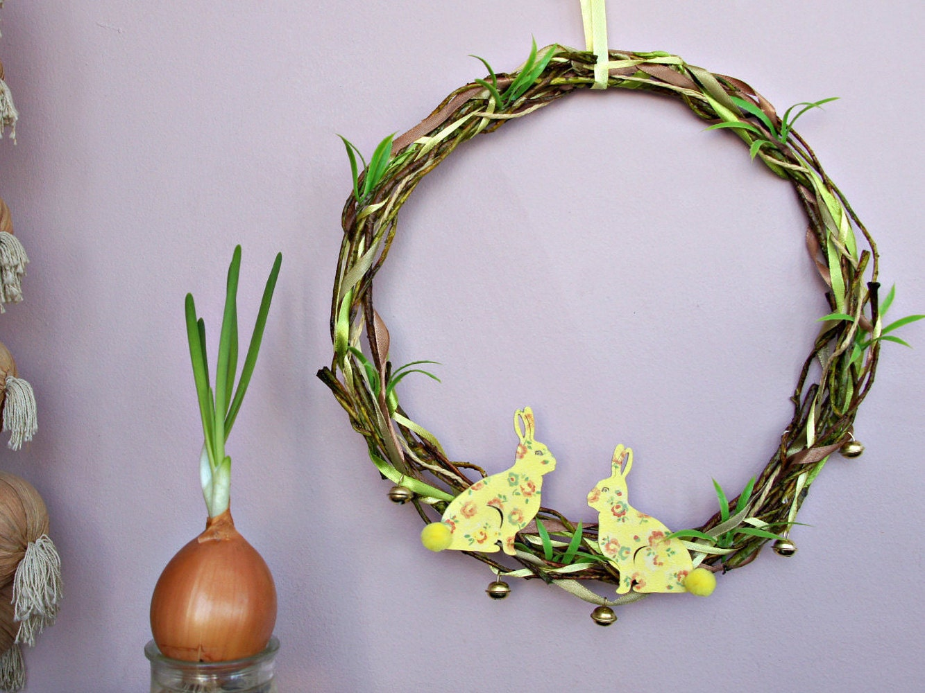 easter bunny wreath rustic easter door wreath yellow easter decorations farmhouse easter decor decoupage easter rabbit - Easter Decor