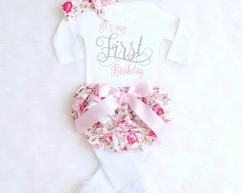 First Birthday Outfit Girl 1st Birthday Outfit Girl Birthday Outfit Floral Bloomers Shabby Chic Birthday Outfit Vintage Birthday Outfit BA1
