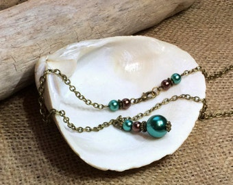 Green & Brown beaded necklace or choker, custom lengths, unique, Women's handmade jewelry, St Patrick's Day, Christmas, xmas, Birthday gift