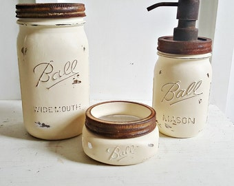 rustic mason jar bathroom set 3 piece cremefarmhouse bathroom decor rustic