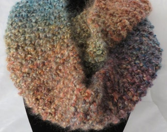 Hand Knit Infinity Scarf / Teal & Brown Infinity Scarf / Chunky Scarf / Circle Scarf / Loop Scarf / Eternity Scarf / Scarf 107
