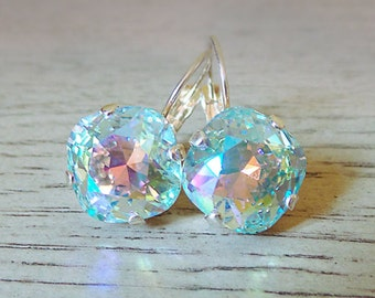 SALE Sparkly Dangle Earrings - Sparkly Crystal Earrings - Swarovski Azore Glacier - Dangle Drop -  Swarovski Crystal - gifts for her