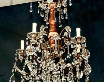 Italian Crystal and Gilt Wood Six Light Chandelier c.1920 [4388]