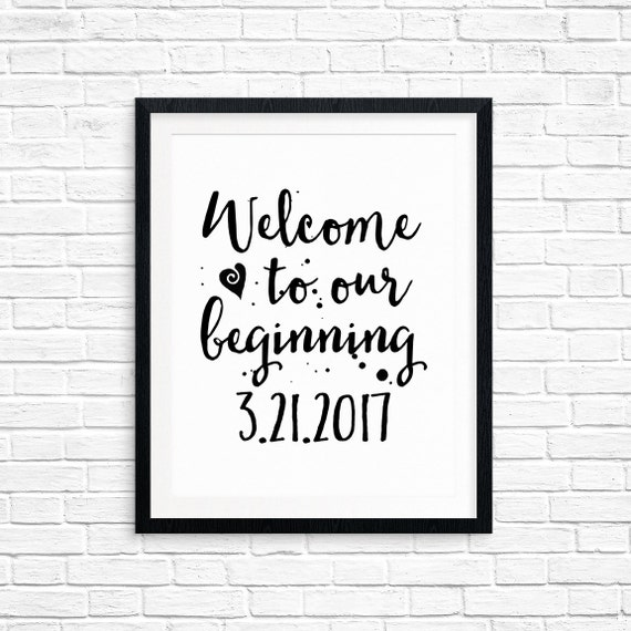 Custom Printable Wedding Sign, Welcome to Our Beginning & Your Wedding Date, Reception Table Decorations, Digital Download, Quote Printable