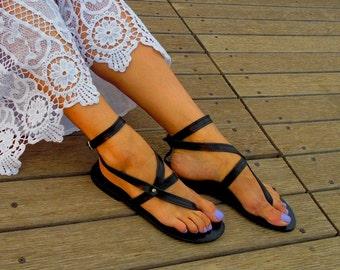 Black Sandals ''Nephele'', Black Leather Flats, Black Leather Sandals, Greek Strappy Sandals