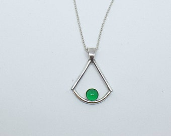 Geometric pendant in sterling silver, gems, gemstones, geometric necklace, gift for her