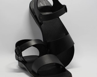 leather sandals, greek sandals, black sandals, black greek sandals, flat sandals, black leather sandal, handmade sandals, men sandals