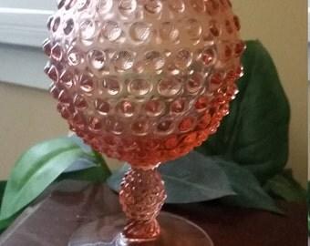 Duncan Miller/US Glass Pink Hobnail Ivy Bowl.  1950 Pink Vase.  Pink Hobnail Vase. 50's