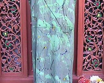 Large hand painted and dye long linen dress