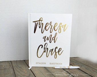 guest book wedding Custom Guest Book Real Gold foil Guestbook, Wedding, Wedding gold Decor, silver copper foil, Wedding decorations