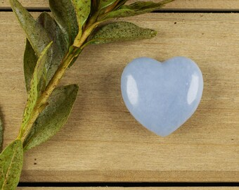 "One 1"" Blue ANGELITE Heart Crystal - Pocket Stone, Healing Crystal Heart, Healing Stone, Angelite Crystal, Angelite Stone Heart E0163"