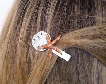 Seashell Hair Clip, Starfish hair pin, Alligator Hair Clip, Sand dollar hair clip