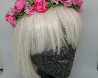 Hot Pink Floral Crown